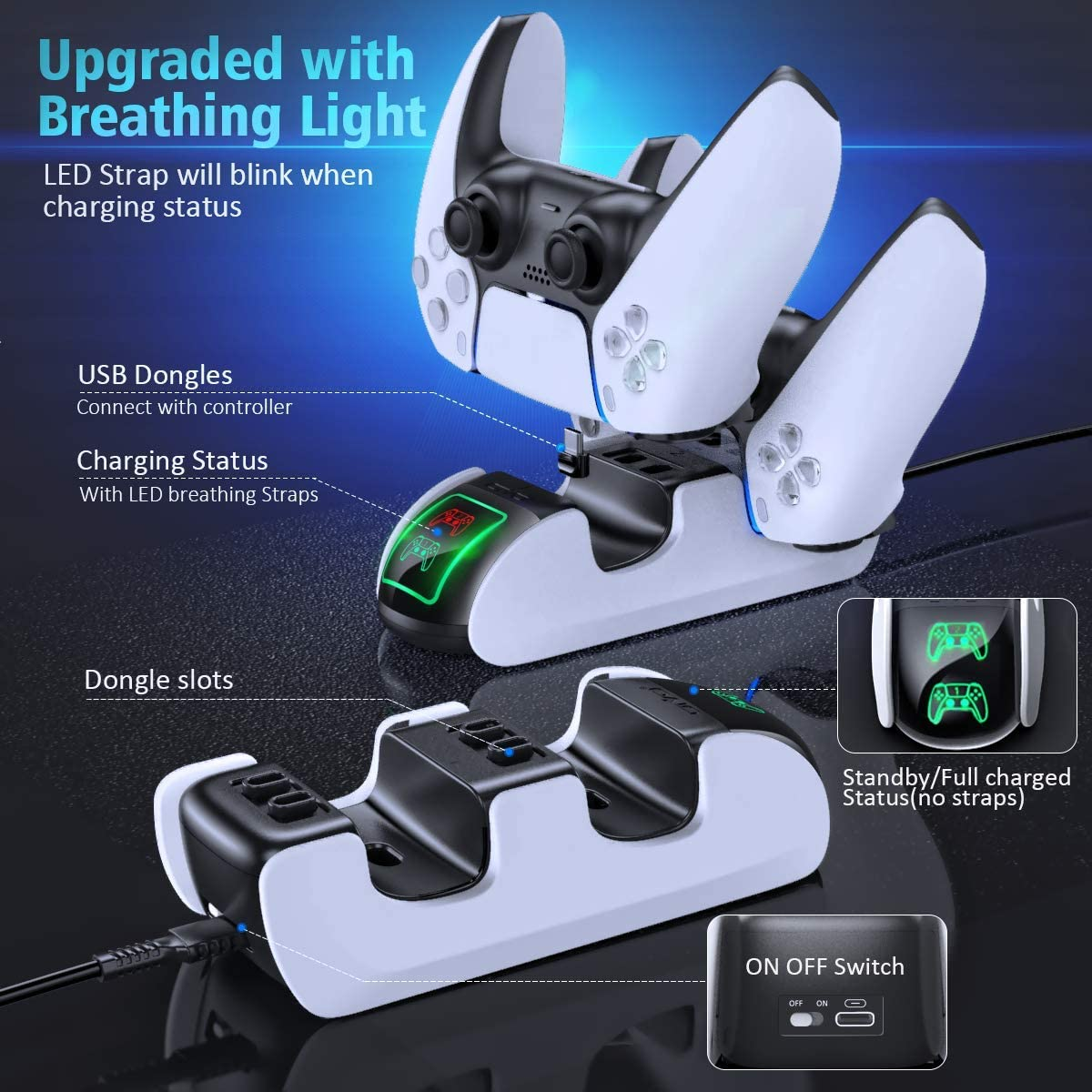 PS5 Rapid Charging Stand LED Lamp Included